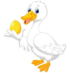 Cute duck cartoon holding golden egg vector image