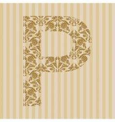 floral font letter vector image
