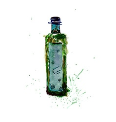 Watercolor green bottle vector