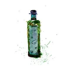 Watercolor Green Bottle vector image