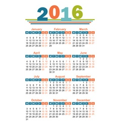 2016 year calendar english vector