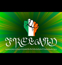 Hand drawn black ink isolated lettering ireland on vector