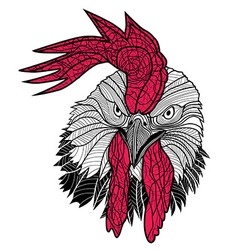 Chicken rooster head design for t-shirts isolated vector