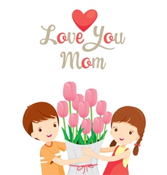 Love you mom with children and flower vector