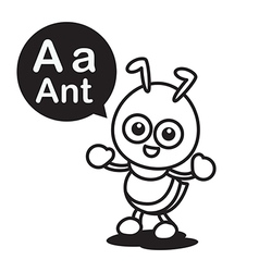 A ant cartoon and alphabet for children to vector