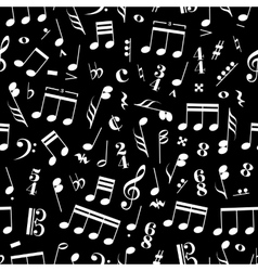 A lot of music signs and note on black background vector image vector image