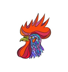 Chicken rooster head side drawing vector
