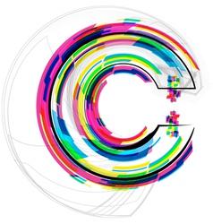 Colorful font letter c vector