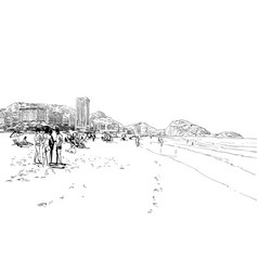 Copacabana beach rio de janeiro brazil vector