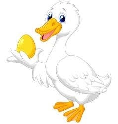 Cute duck cartoon holding golden egg vector