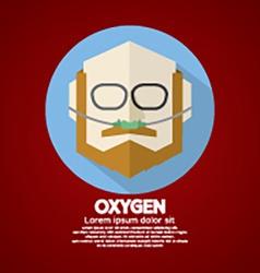 Elderly patient with respiratory oxygen nasal vector