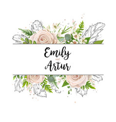 Floral card art wedding watercolor invitation vector