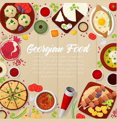 Georgian cuisine traditional food with khachapuri vector