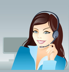 girl with headset vector image vector image