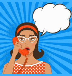 girl with telephone handset vector image