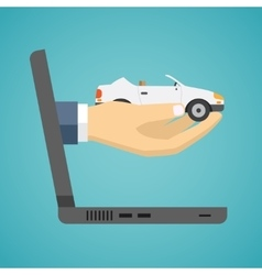 Hand holding car from screen of notebook vector image