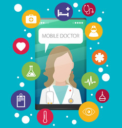 health application on a smartphone vector image
