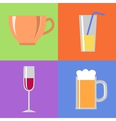 Icons with glasses and cup vector image vector image