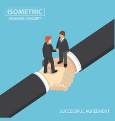 isometric business people shaking hands on big vector image