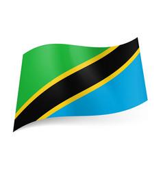 National flag of tanzania diagonal yellow vector