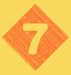 Number 7 sign design template element red vector