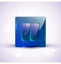 On off blue glass switch with ornament vector