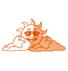 Outlined sunny face smiling behind a cloud vector