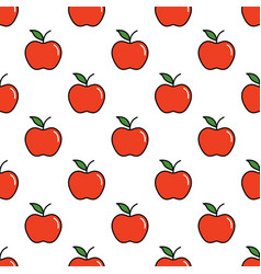 Pattern with thin line red apples vector