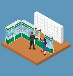 Pharmacy shop interior isometric view vector