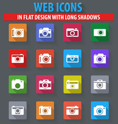 Photo camera icon set vector