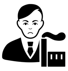 Sad capitalist oligarch black icon vector