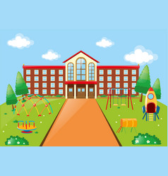 Scene with school building and playground vector