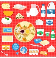 set of with dairy products vector image
