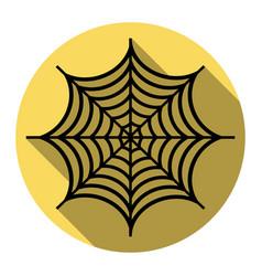 Spider on web flat black vector