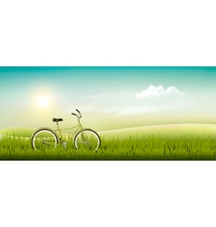Summer meadow landscape with a bicycle vector image vector image