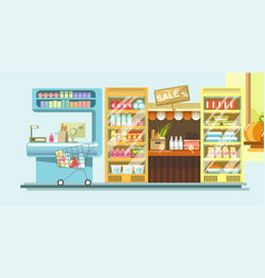 Supermarket department with dairy products and vector
