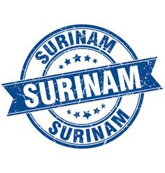 Surinam blue round grunge vintage ribbon stamp vector