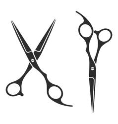Vintage barber shop scissors logo label badge vector image