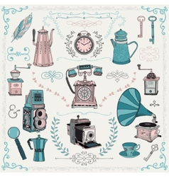 Vintage icons and design elements vector