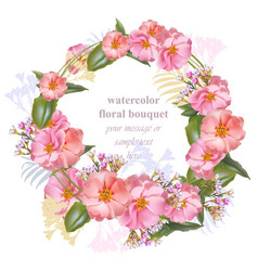 watercolor floral round wreath frame card vintage vector image vector image