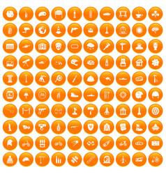 100 helmet icons set orange vector