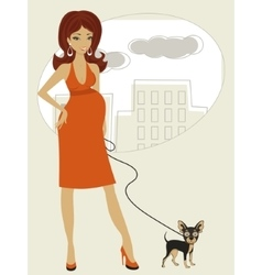 Pregnant woman with little dog vector image