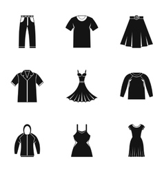 Kind of clothing icons set simple style vector