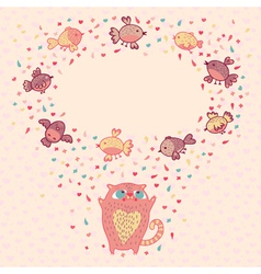 a cute cat and birds vector image