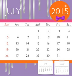2015 calendar monthly calendar template for july vector