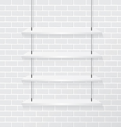 Brick wall and white shelve vector