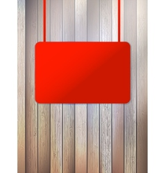 Blank red signboard on aged wooden wall EPS10 vector image