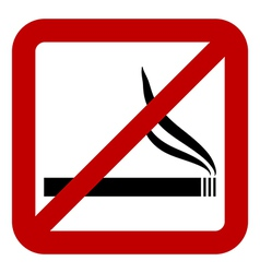 Prohibitory sign with cigarette sign vector