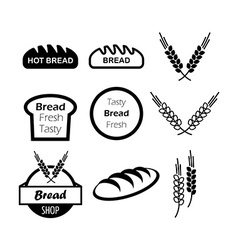 Icons of hot bread vector