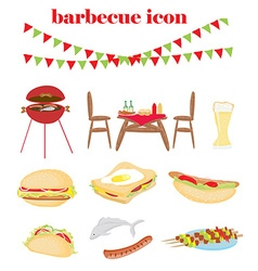 Barbecue party - set of icons vector
